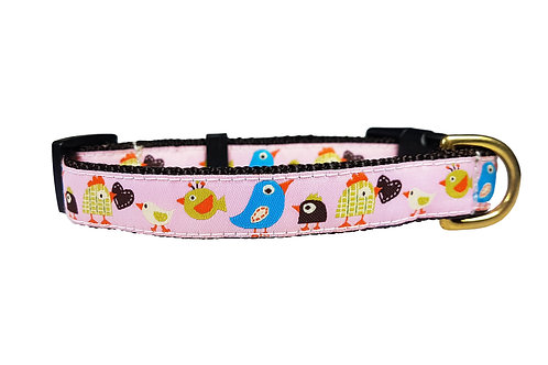 19mm Wide Pink Birds Collar
