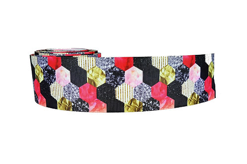 38mm Wide Pink, Black and Gold Hexagons Dog Collar