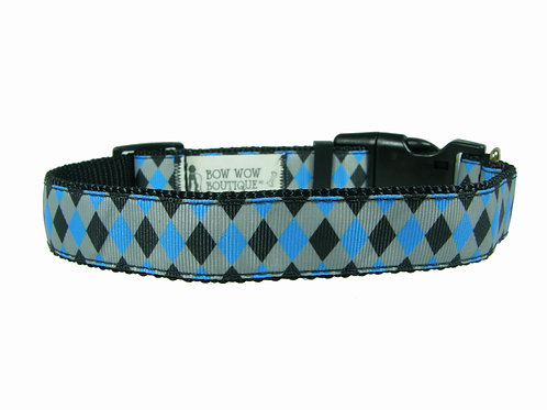 25mm Wide Blue Diamonds Dog Collar