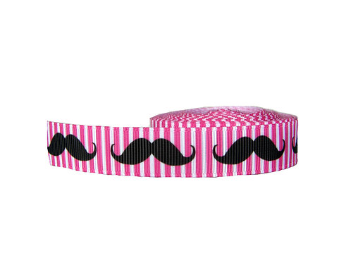 19mm Wide Moustaches on Pink Martingale Collar