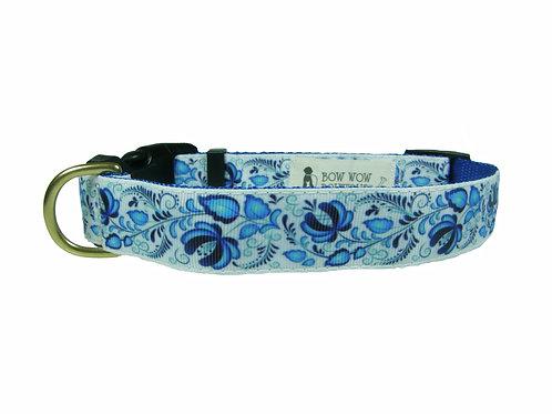 25mm Wide Blue Flowers Dog Collar