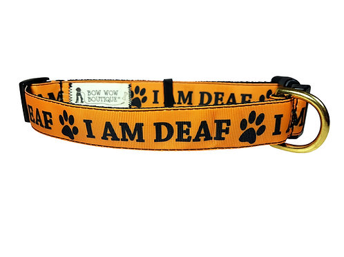25mm Wide I AM DEAF Dog Collar