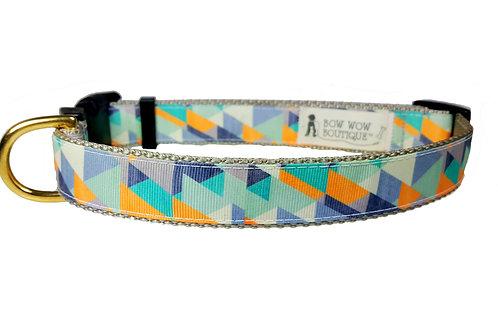 25mm Wide Grey Triangles Dog Collar