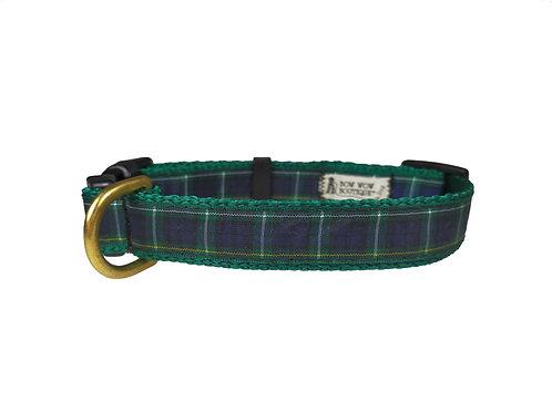 19mm Wide Green Tartan Dog Collar