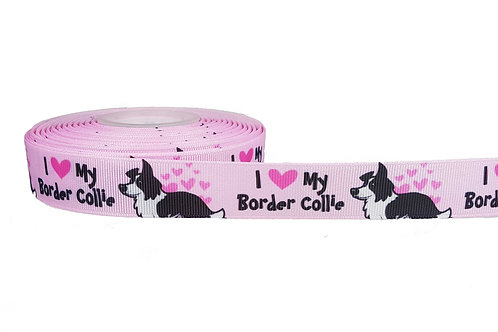 25mm Wide I Love my Border Collie Martingale Collar