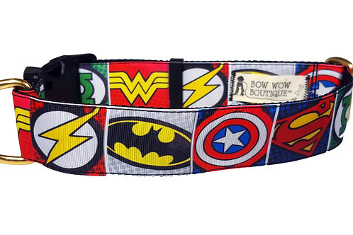 38mm Wide Super Hero Icons Dog Collar