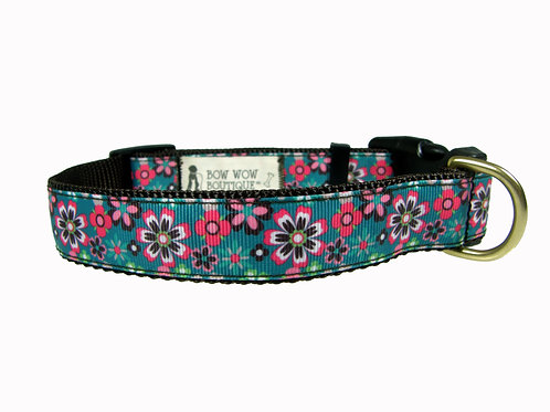 25mm Wide Pink & Brown Flowers Dog Collar