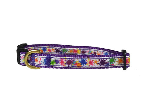 12.7mm Wide Paint Splatters Dog Collar