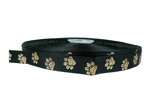 19mm Wide Gold Paw on Black Double Ended Lead
