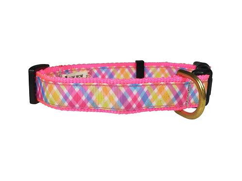 19mm Wide Pink Criss Cross Dog Collar