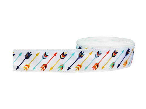 25mm Wide Multi Coloured Arrows on White Martingale Collar