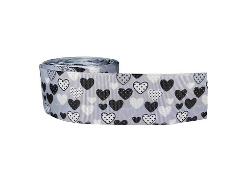 38mm Wide Black & White Hearts on Grey Martingale Collar