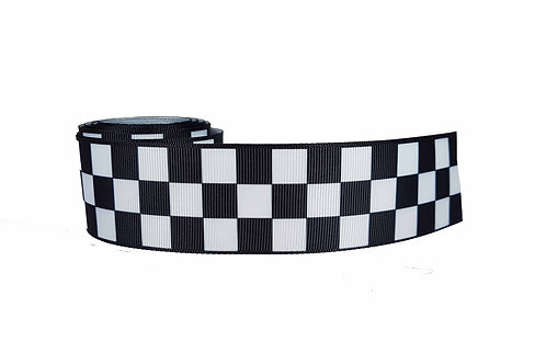 38mm Wide Black & White Check Martingale Dog Collar
