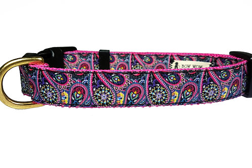 19mm Wide Pink Paisley Collar