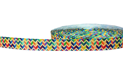 19mm Wide Multi Coloured Chevron Double Ended Lead