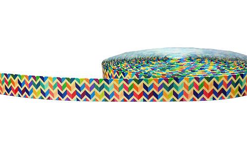 19mm Wide Multi Coloured Chevron Martingale Collar