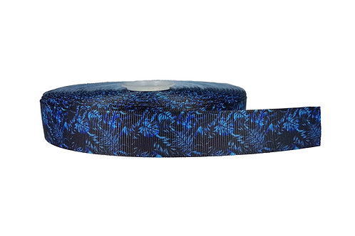 25mm Wide Blue Leaves on Black Double Ended Lead