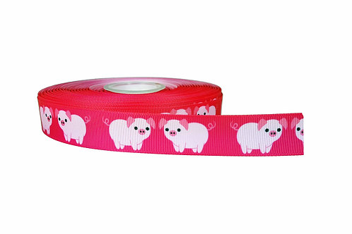 25mm Wide Pink Piggys Double Ended Lead