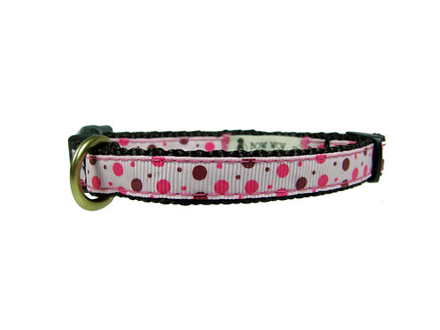 12.7mm Wide Pink and Brown Dots Collar