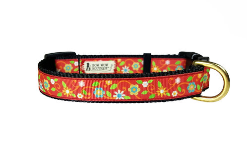 19mm Wide Red Flowers Collar