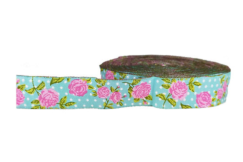 25mm Wide Pink Roses on Light Blue Double Ended Lead