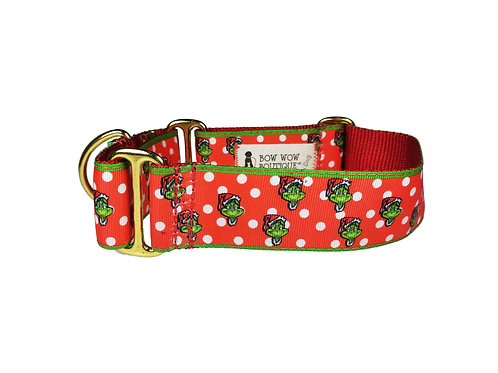 Greyhound Grinch Martingale Dog Collar