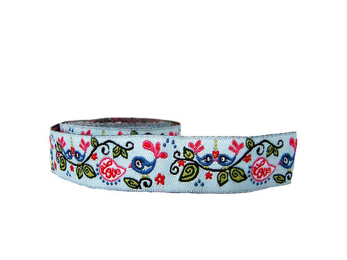 19mm Wide Blue Birds Double Ended Lead