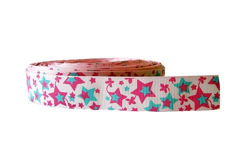 25mm Wide Pink & Blue Stars Dog Collar