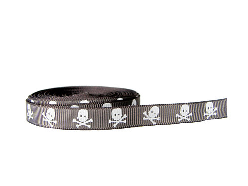 12.7mm Wide Grey Skulls Double Ended Lead