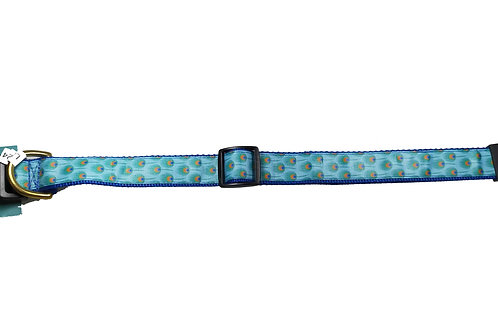 25mm Wide Light Blue Peacock Feathers Dog Collar