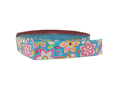 25mm Wide Pink Flowers on Light Blue Double Ended Lead