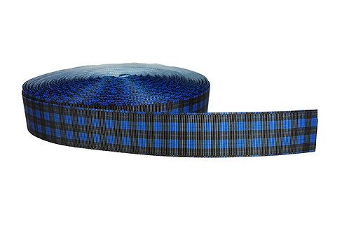 25mm Wide Blue & Black Tartan Lead