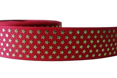 25mm Wide Gold Stars on Red Martingale Collar