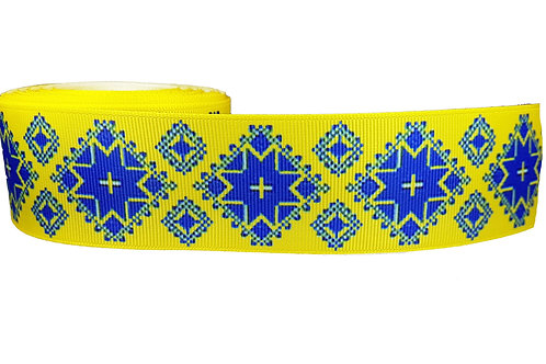 38mm Wide Blue Aztec on Yellow Martingale Collar