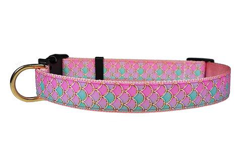 25mm Wide Pink Mermaid Dog Collar