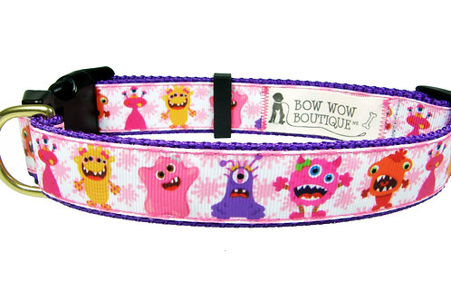 25mm Wide Cute Monsters Dog Collar