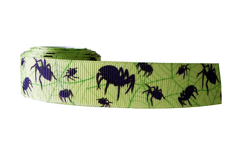 25mm Wide Spiders on Green Dog Collar