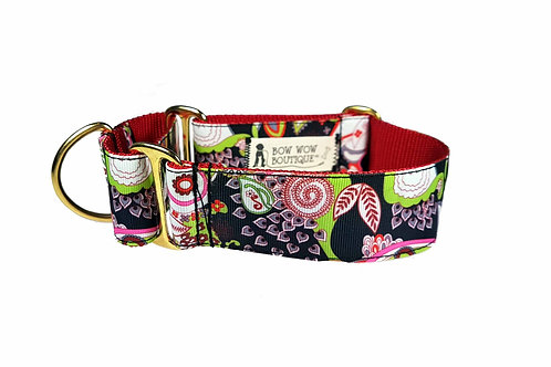 38mm Wide Asian Inspired Paisley Martingale Dog Collar