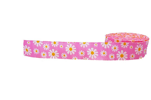 19mm Wide Pink Daisies Double Ended Lead