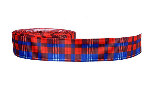 25mm Wide Red with Blue Tartan Lead