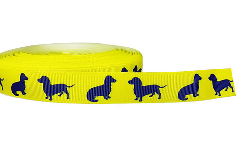 19mm Wide Navy Blue Dachshunds on Yellow Lead