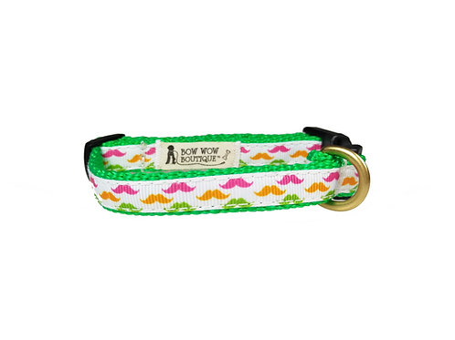 12.7mm Wide Moustaches Dog Collar