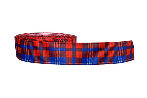 25mm Wide Red with Blue Tartan Dog Collar