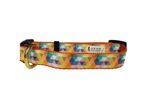 19mm Wide Multi Coloured Triangles Dog Collar