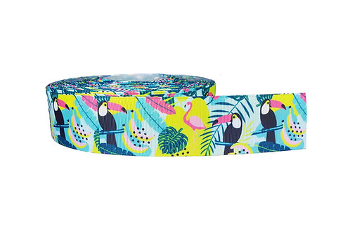 38mm Wide Tucans & Flamingos Martingale Collar