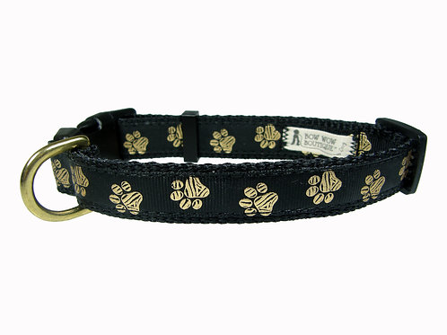 19mm Wide Gold Paw on Black Collar