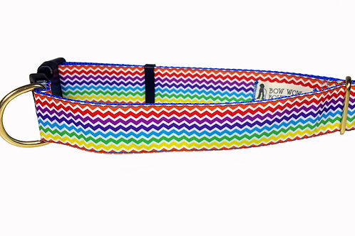 38mm Wide Rainbow Chevron Dog Collar