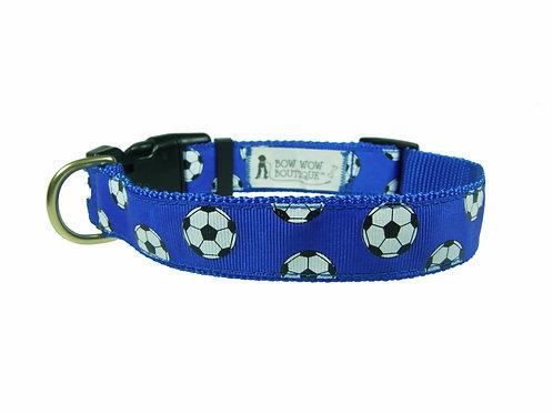 25mm Wide Soccer Balls on Dark Blue Dog Collar