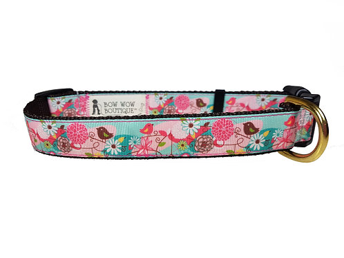 25mm Wide Pink & Brown Birds Dog Collar