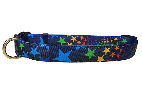 25mm Wide Rainbow Stars Dog Collar